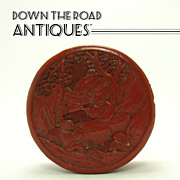 Chinese Cinnabar Carved Covered Box - 1890's