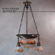 Obverse-Painted Chandelier with Country Scene - 1920's