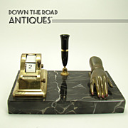 Scheaffer Marble Brass/Bronze Pen Holder and Desk Organizer -  1930's