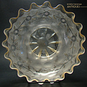 Large New England Glass Floral Etched Pomona Bowl - Late 1880's