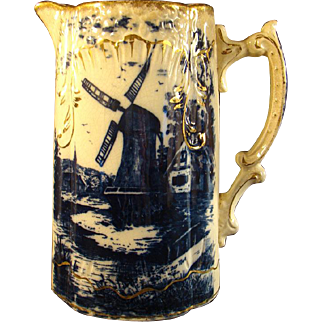 Flow Blue Pitcher with Gold - Nautical Scene and Windmill