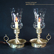 Pair of Silver Plated and Etched Glass Boudoir/Finger Lamps - 1920's