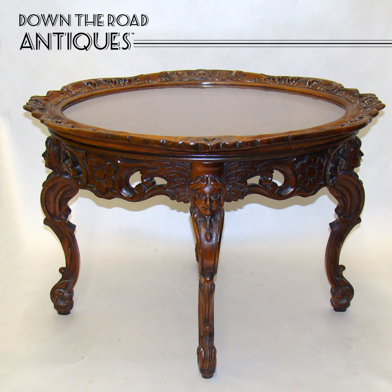 Solid Carved Walnut Center Table With Removable Serving Tray And Figural  Women Heads   1920u0027s