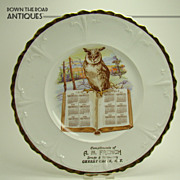 Porcelain Calendar Plate with Owl on Book - 1912