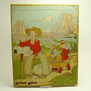 "Lithographed Farmer Cowboy Jigsaw Puzzle - ""Detour Ahead"" (Don  Bloodgood) - 1930's"