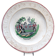 Early ABC Plate with Cricket Players - 1870's
