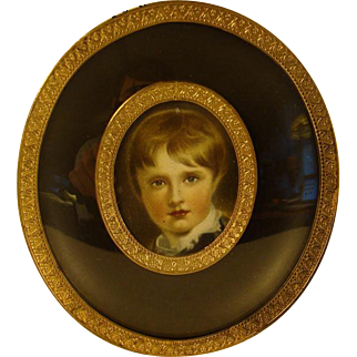 Small Oval Convex Picture Frame With Photo of Young Boy  - 1920's