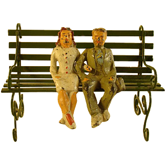 Miniature Leaded Figurines - Man & Woman on Park Bench - 1920's