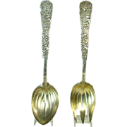 Large Signed Tiffany Salad Fork and Spoon with Grape and Ivy Pattern