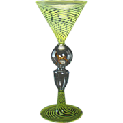 Tall Green Spiraled Bimini Glass with Applied Deer Center - 1920's