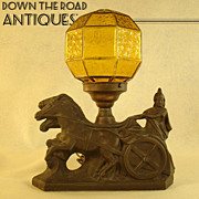 Horse & Chariot Mood Lamp with Amber Geometric Shade
