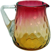 Inverted Thumbprint Amberina Glass Pitcher with Applied Handle - 1890's