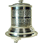 Silver Plated Hotel Lobby Cigar Humidor/Container - Turn-of-The-Century