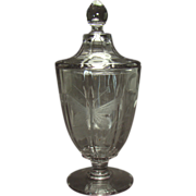 Glass Candy Container with Cut Butterfly and Lid - 1930's