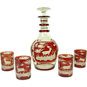 Ruby Cut to Clear Glass Decanter with Four Glasses and Deer Scene -  1880's