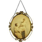 Ornate Gilt and Brass Oval Frame with Artist Enhanced Photo - Early 1900's