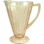 Pink Depression Glass Water Pitcher in Poinsettia Pattern