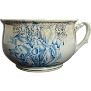 Porcelain Floral Chamber Pot - Blue, White, Gold  - 1890's