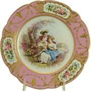 Early Porcelain Hand-Painted Scenic Plate - 1840's