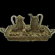 Miniature Silver Filigree Tea Set and Tray - 1910