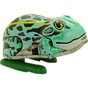 Japanese Tin Hopping Frog Wind-up Toy - 1950's