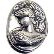 Art Nouveau Sterling Pill Box with Woman in Relief - 1905