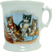 German Porcelain Cup with Three Cats Playing Musical Instruments - 1900's