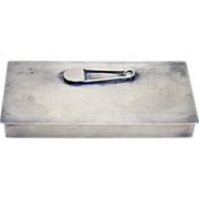 Solid Sterling Safety Pin Container Box - 1940's