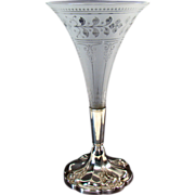 Acid Cut-back Glass Trumpet Vase on Silver Plated Base - Victorian
