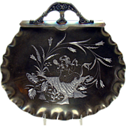 Silver Plated Card Receiver with Engraved Mermaid in Shell - 1890's Victorian