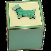 Enameled Ash Receiver with Jadeite Scottie Dog - 1920's