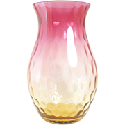 Amberina Glass Vase with Inverted Thumbprint Design - 1890's