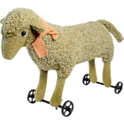Steiff Lamb Pull-Toy with Iron Wheels - 1920's