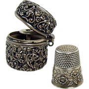 Unger Brothers Sterling Thimble in Sterling Reticulated Case - 1890's