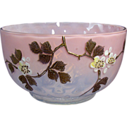 Diamond Quilted Opalescent Art Glass Bowl with Floral Enameling - 1890's