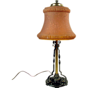 Pittsburgh Table Lamp with Burnt Orange Stretch Glass Linen Fold Shade - Arts &  Crafts