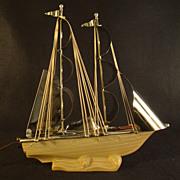 Art Deco Chrome and Glass Sailing Ship Lamp