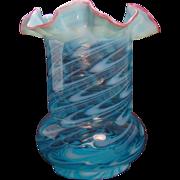 Northwood Opalescent Aqua Blue Fluted Glass Vase