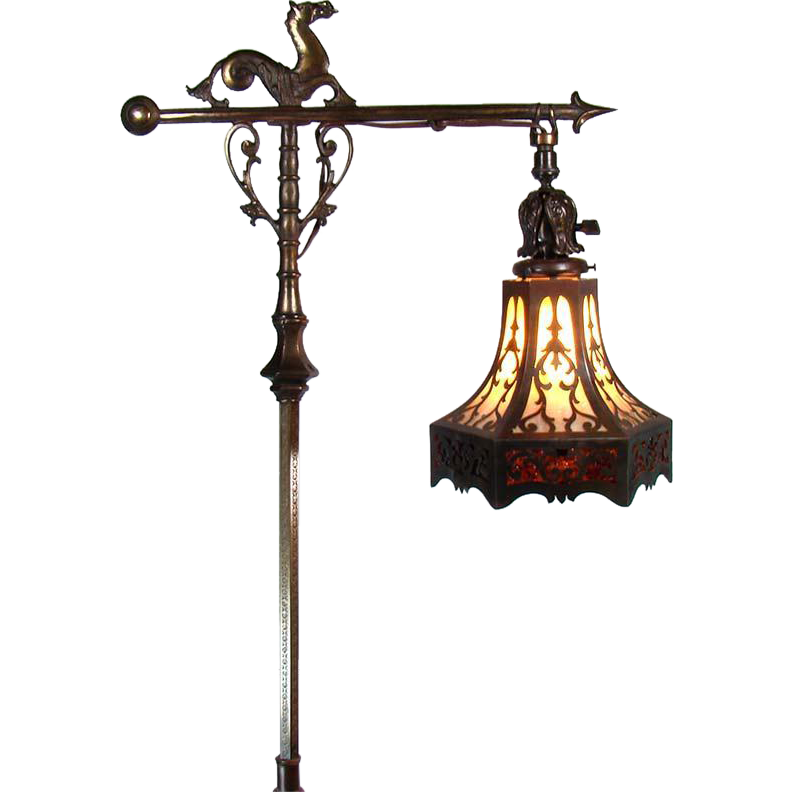 Rembrandt Floor Lamp with Sea Horse and Lizard, Pierced Arts ...