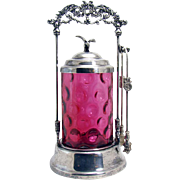 Silver Plated Pickle Castor with American Eagle Finial and Inverted Thumbprint  Cranberry Glass Insert - 1880's