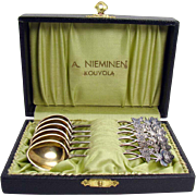 Demitasse Spoons with Vermeil Bowls - Set of Six in Box - 813 Silver