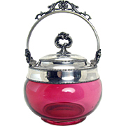 Cranberry Glass Container with Silver Plated Holder - 1880's Victorian