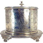 Silver Plated Tea Caddie with Ornate Design - 1880's