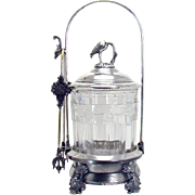Victorian Silver Plated Pickle Castor with Crane - 1880's