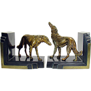 Signed Ronson Art Deco Bookends with Borzoi Dogs