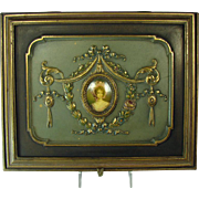 Jewelry Box with Ornate Gesso Art Nouveau Pattern and Center Cameo - 1920's