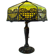 Filigreed Electric Table Lamp with Green Slag Glass Shade - 1920's