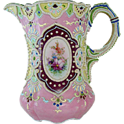 Enameled Moriage Nippon Porcelain Water Pitcher - 1920's