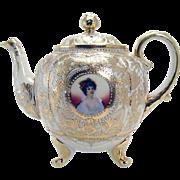 Nippon Porcelain Portrait Teapot - Rare