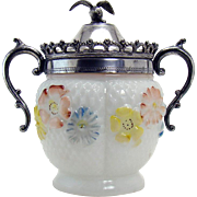 Consolidated Glass Condiment with Cosmos Pattern and Eagle Finial